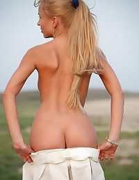 Blonde teen with shaved..